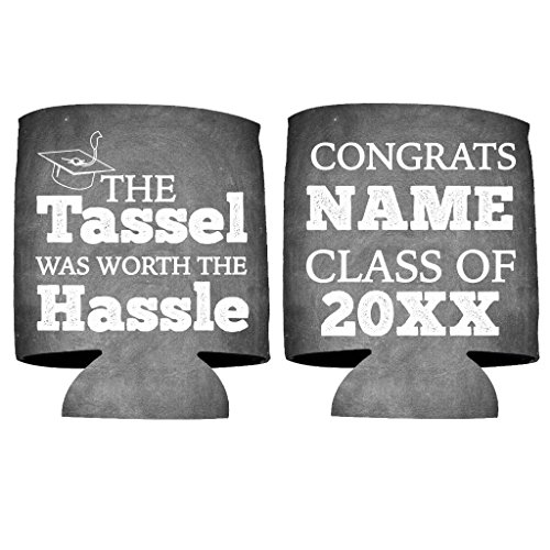 Custom Graduation Can Cooler- The tassel was worth the hassle - Graduation Party Beverage Coolers -