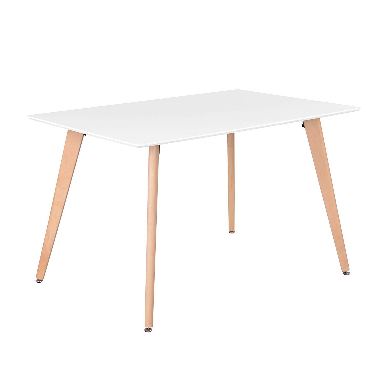 FurnitureR Dining Table Rectangular Top Dining Desk 44'' x 28'' Leisure Cofffee Table 2-4 People Wood Beech White Kitchen Desk by FurnitureR (Image #1)