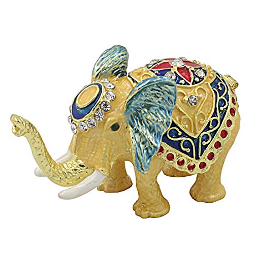 Hophen Feng Shui Thai Elephant Trinket Box Hinged Wealth Lucky Ring Holder Animal Statue Figurine Home Decor Gift Collectible (Light Yellow) Bejeweled Elephant Trinket Box