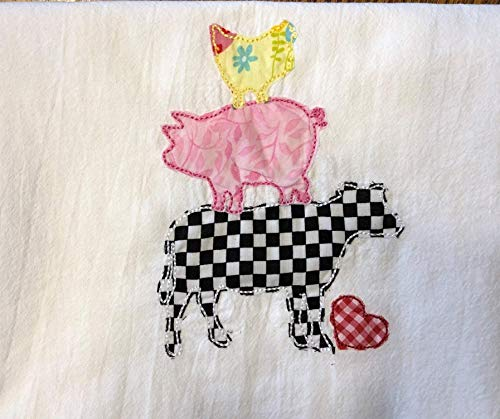 Farm animal appliqued dish towel, tea towel, flour sack towel,