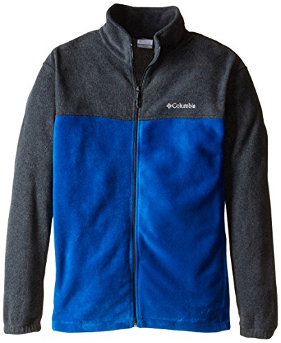 Columbia Men's Size Steens Mountain Full Zip 2.0 Soft Fleece Jacket, Charcoal Heather/Marine Blue, - Columbia Jacket Men Blue