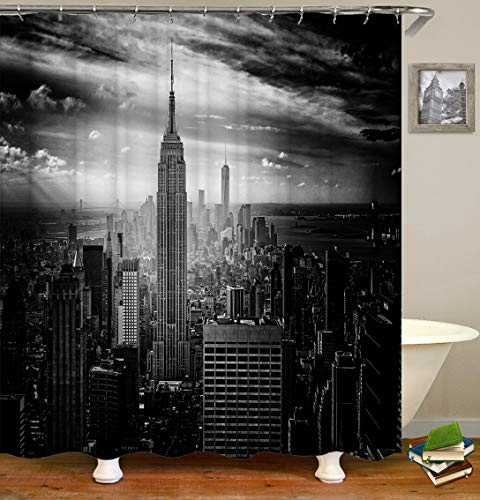 BARTORI Shower Curtain Home Decor The Black and White Photograph of San Francisco The Folden Gate Bridge in The Modern City Waterproof Polyester Fabric Bath Curtain with Size 71''X71''