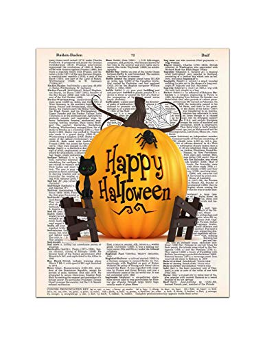 Halloween Pumpkin, Cat, and Spider Wall Art Dictionary Print, 8x11 inches, Unframed ()