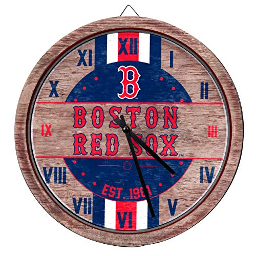 MLB Boston Red Sox Unisex Barrel Wall CLOCKBARREL Wall Clock, Team Color, One Size