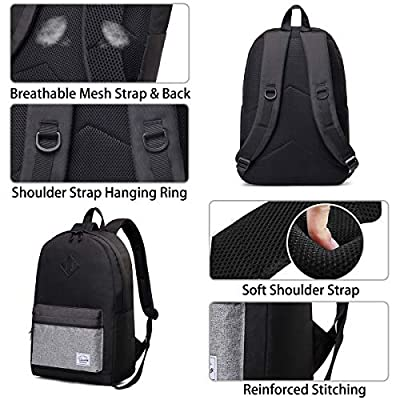 School Backpack for Men and Women, VASCHY Water-Resistant Durable Lightweight Casual Daypack for Work with Water Bottle Pockets Black | Kids' Backpacks