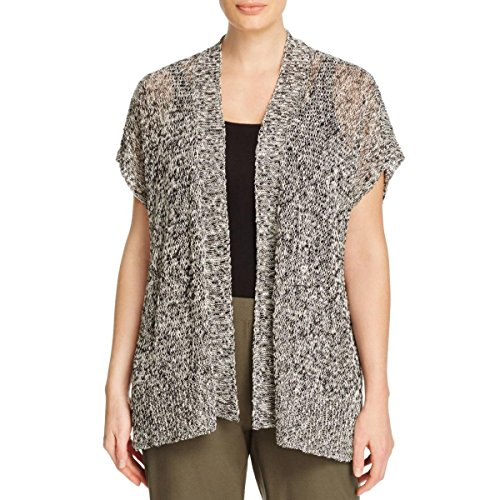 Eileen Fisher Womens Plus Linen Knit Cardigan Sweater B/W 3X