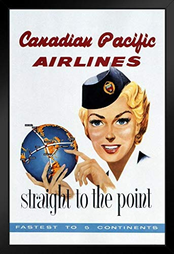 Canadian Pacific Airlines Retro Travel Framed Poster 14x20 inch