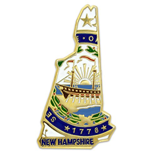 PinMart State Shape of New Hampshire and New Hampshire Flag Lapel Pin - New Hampshire State Seal