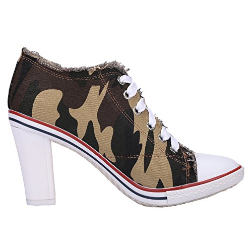 Fashion Fereshte Canvas C Women's stiletto Boots Sneakers Army High Heel Green Chunky Lace Up Chunky Rivet Ankle 1YzO4qr1