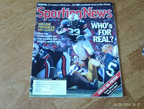 2006 Real Football - Sporting News magazine, September 29, 2006 Kenny Irons Auburn University Running Back cover. College Football's First Quarter. Who's For Real & 2006-07 NHL Preview: Teams, Players and trends to watch.
