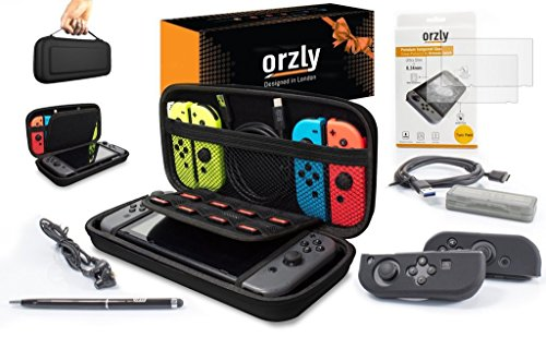 Orzly Switch Accessories, Ultimate Pack for Nintendo Switch (Bundle includes: Glass Screen Protectors, USB Charging Cable, Console Pouch, Cartridge Case, FlexiCase JoyCon Covers, Headphones) - BLACK