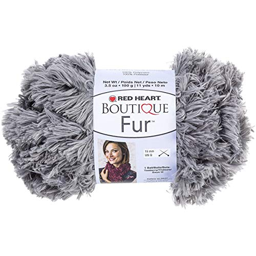 RED HEART Fur Yarn Smoke