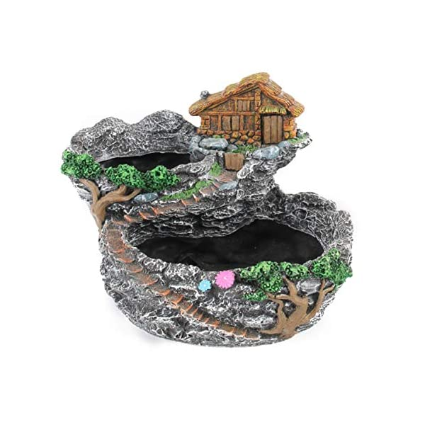 Yardwe Bonsai Planter Resin Succulent Plant Pots Fairy Garden Planter House For Indoor Outdoor Tabletop Decorationgrey