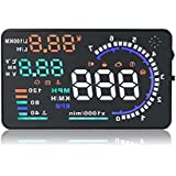 5.5'' AUKA Car Hud Head Up Display with OBDII,EUOBD Interface Plug Display with KM/H, Speeding Warning, Fuel Consumption and Water temperature alarm