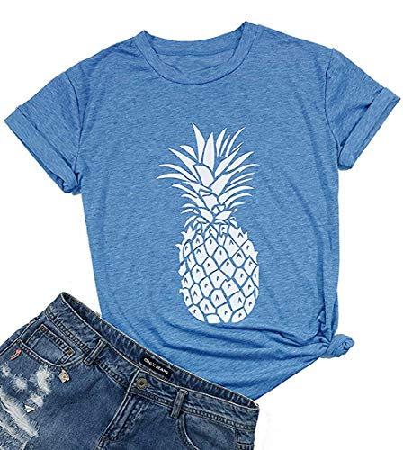 - FADAZAI Pineapple Printed Cute T Shirt for Women Summer Fruits Hawaiian Casual Short Sleeve Tee Tops