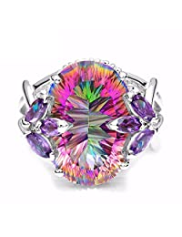 GDMysticS 12ct Amethyst Rainbow Fire Mystic Topaz Solid 925 Sterling Silver Ring Jewelry