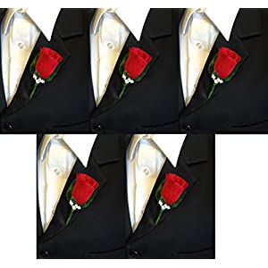 Set of 5 Holiday Red Rose Boutonniere with Pin for Prom, Party, Wedding 50