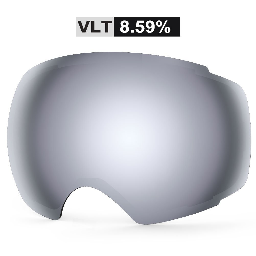 ZIONOR Lagopus X4 Ski Snowboard Snow Goggles Replacement Lenses (VLT 8.59% Grey Revo Silver Lens) by Zionor