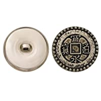 C&C Metal Products 5112 Rope Rim Chinese Coin Metal Button, Size 45 Ligne, Antique Nickel, 36-Pack