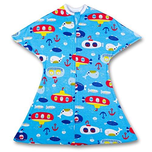 SleepingBaby Deep Blue Sea Zipadee-Zip Swaddle Transition Baby Swaddle Blanket with Zipper, Cozy Baby Swaddle Wrap and Baby Sleep Sack (Small 4-8 Months | 12-19 lbs, 25-29 inches | Deep Blue Sea)