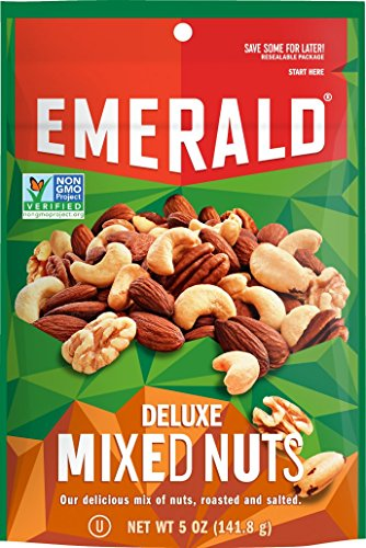 Emerald Deluxe Mixed Nuts, Stand Up Resealable Bag, 5 Ounce