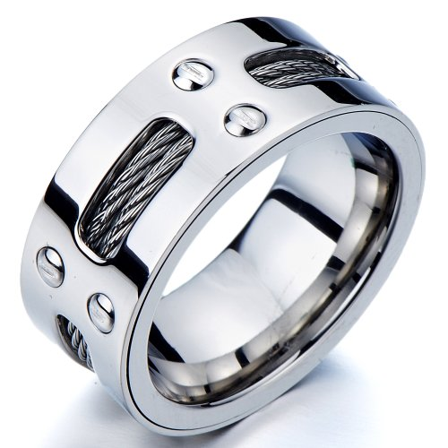 Man's Stainless Steel Ring Wedding Band with Steel - Men Rings 10mm