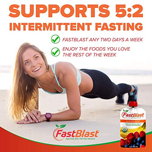 FastBlast Banana-Berry Smoothie. Supports Intermittent Fasting. Controls Appetite and Maintains Energy. USDA Certified Organic, Vegan, Non-GMO, Soy Free & No Added Sugar (48 Units: 4 Packs of 12) by FastBlast (Image #1)