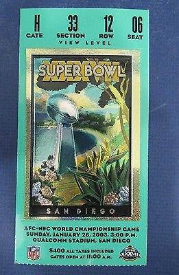 Super Bowl XXXVII Tampa Bay Buccaneers Vs. Oakland Raiders Ticket Stub 127201