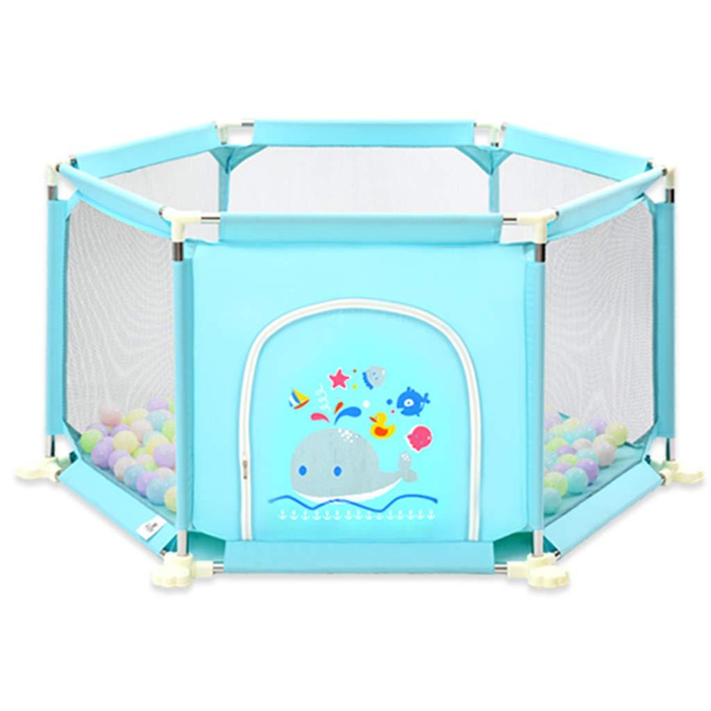 男の子女の子の安全Playpenポータブル折り畳み幼児の赤ちゃん活動エリア青いフェンス6パネル屋内屋外の家   B07H4MN3H5
