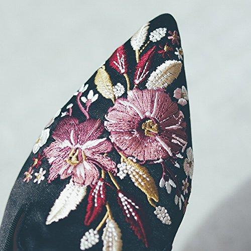 à la Mule Porter Noir DIDIDD Tête Mode 36 Chaussures Plat à Paresseux Pantoufle Brodé Sandale Baotou Fond BtXw1qU