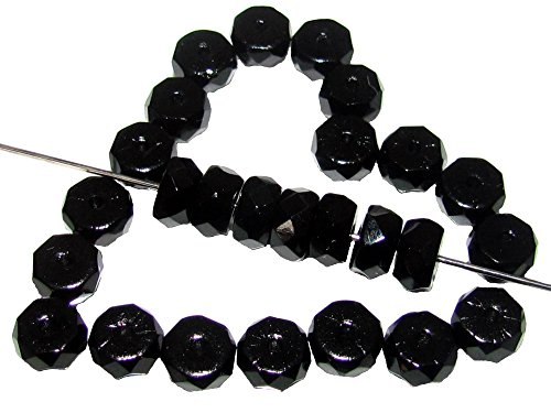 50pcs Belly Rondelles Czech Glass Faceted Beads 3x6mm, Jet Black