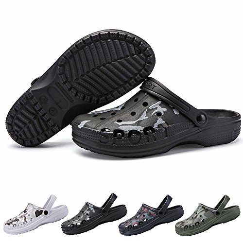 PHILDA Men's Camouflage Garden Clog Water Shoes Lightweight Slippers Anti-Slip Rubber Indoor Outdoor Mules Quick Drying Non Slip Black camo 45 ()