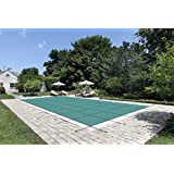 "Water Warden""MADE TO LAST"" Safety Pool Cover for 14' x 28' Solid Green, With Center Drain Panel"