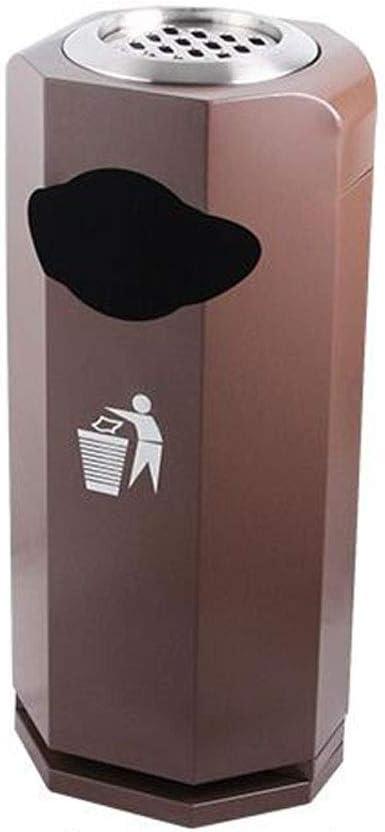 Cubo de Basura Diamond Trash Can Hotel Lobby Office Acero Inoxidable Papelera Jardín Baño Exterior con cenicero Papelera Basurero (Color : Brown): Amazon.es: Hogar