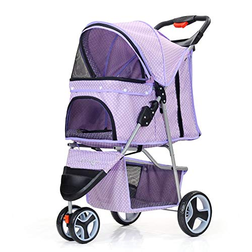 comiga Folding Pet Stroller for Dogs Cats, Three-Wheeled Animal Carrier Cage with Rain Cover Storage Basket and Mesh Window, Portable Waterproof and Breathable Purple