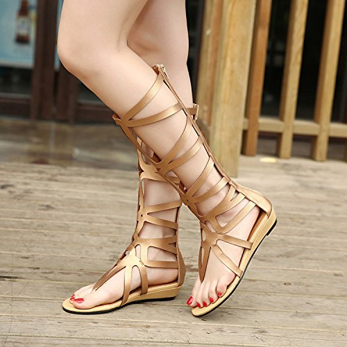 D2C Beauty Womens Roman Knee High Cut Out Strappy Gladiator Thong Sandals Black znaN6vR