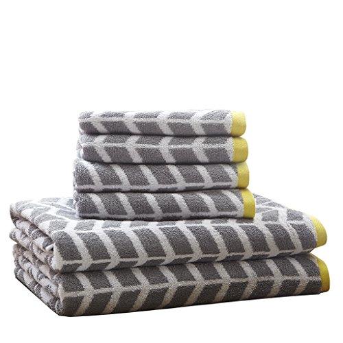 m Towels , Jacquard Highly Absorbent Bath Towel Set , 6-Piece Include 2 Bath Towels & 4 Hand Towels , Dark Grey ()