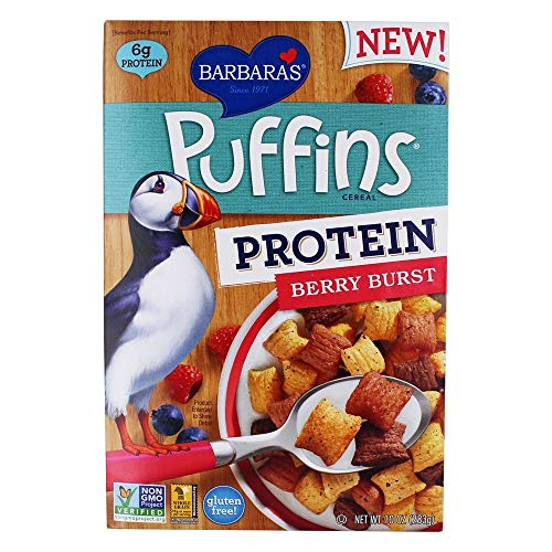 - Barbaras Bakery, Cereal Protein Puffins Berry, 10 Ounce