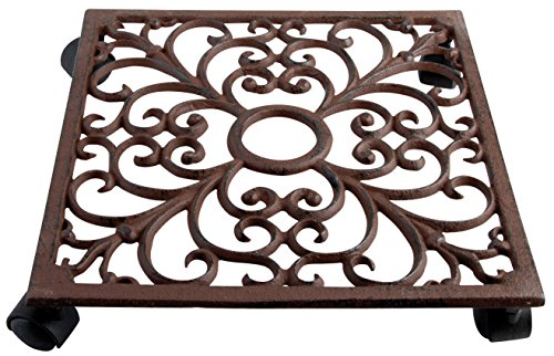 Esschert Design Plant Trolley - Square Cast Iron (Stand Planter Square)