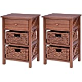 3 Tier Wood Nightstand 1Drawer 2 Basket Bedside Table End Table Organizer 2 PCS