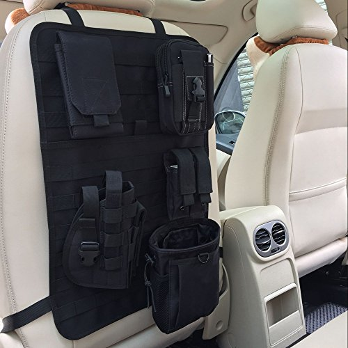 AuACE Nylon Molle Tactical Car Seat Cover Kicking Mat Car Seat Back Protectors Vehicle Car Panel Holster Pouch (BK) ()