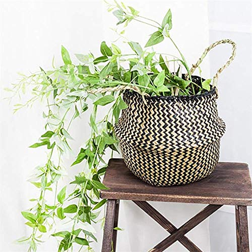 Hot Tuscom Pure Hand-Woven Foldable Seagrass Wicker Flower Basket,22×20cm Environmental Beautiful for Flower Pot Dirty Clothes Storage Decoration (Black)