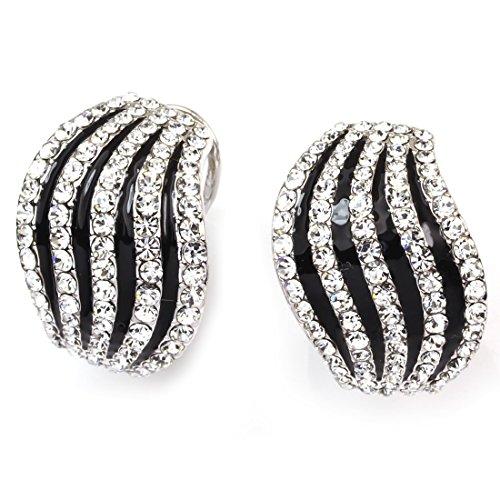 Zebra Print Enamel Ring (FC JORY White Gold Plated CZ Animal Print Black Enamel Zebra Pattern Earrings Stud)