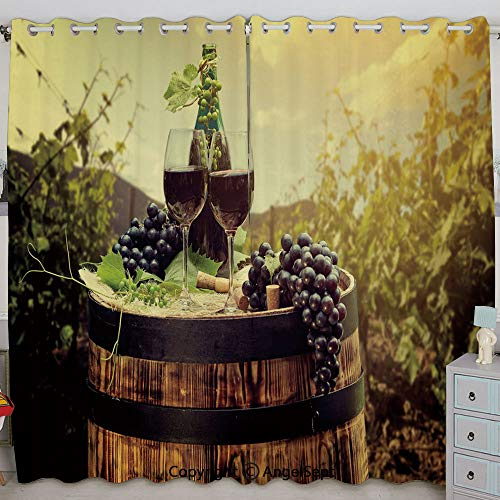 Justin Harve window Scenic Tuscany Landscape with Barrel Couple of Glasses and Ripe Grapes Growth Decorative Grommet Top Blackout Curtains Set of 2 Panels(100