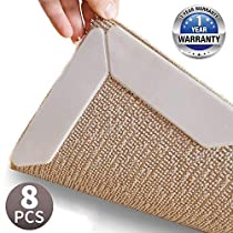 Rug Grippers, New 8 pcs Anti Curling Rug Gripper, Keeps Your Rug in Place & Makes Corners Flat, Super Large Anti Curling Rug Corner Gripper,Premium Carpet Gripper with Renewable Gripper Tape (Rug Grippers 8pcs)