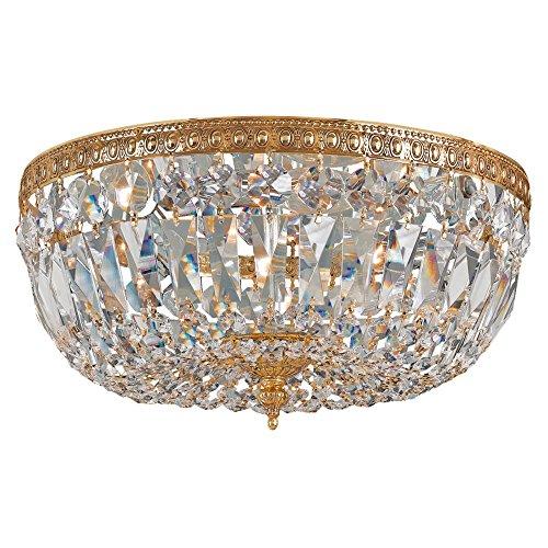 Olde Cast Brass Crystal (Crystorama 712-OB-CL-I 3 Light Clear Italian Crystal Brass Flush Mount, Olde Brass)