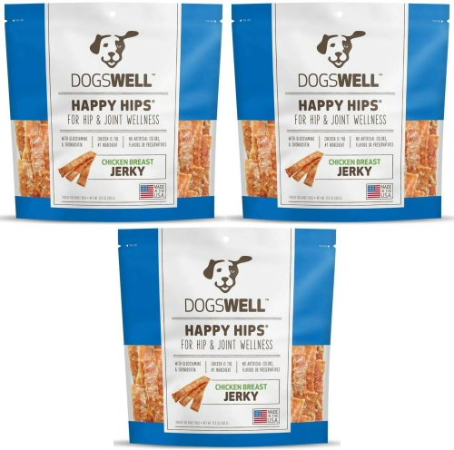 Dogswell Happy Hips Jerky Chicken Breast Treats 2.53125lb (3 x 13.5oz) - Dogswell Happy Hips Chicken