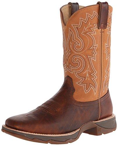 Durango Women's Ramped Up Lady Rebel Blue Riding Boot, Distressed Brown/Camel, 8 M US