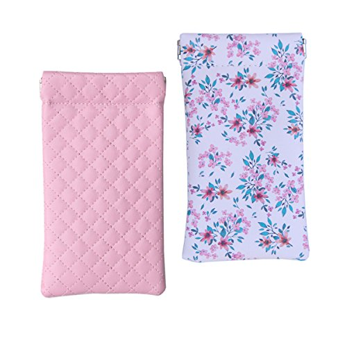 Lucky Leaf Sunglasses Pouch Goggles Case Eyewear Holder Mini Coin Wallet with Cleaning Cloth (Pink Plaid + Pink Folwers) Purse Sunglasses