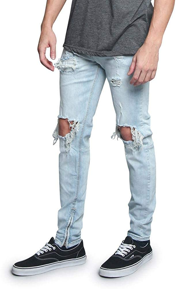 Victorious Mens Destroyed Taper Fit Colored Jeans